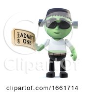 3d Funny Halloween Frankenstein Monster Character Has A Ticket To The Show