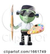 Poster, Art Print Of 3d Child Frankenstein Loves To Paint
