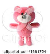 Soft Pink Fluffy Teddy Bear Character Standing Peacefully