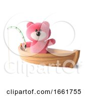 Pink Teddy Bear With Fluffy Soft Fur Fishing From Her Dinghy