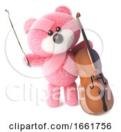 Musical Teddy Bear With Pink Soft Fur Playing A Cello