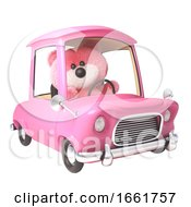 Teddy Bear With Pink Fluffy Fur Driving Her New Pink Car