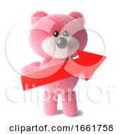 Cute Pink Cuddly Teddy Bear With Fluffy Fur Holding A Red Arrow