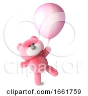Teddy Bear With Pink Fluffy Fur Starts To Float Holding Onto A Pink Balloon