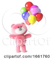 Happy Teddy Bear With Pink Fluffy Fur Has Party Balloons For A Celebration