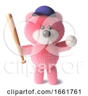 Teddy Bear With Soft Pink Fur Wearing A Baseball Hat And Holding A Baseball Bat And Ball