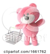 Teddy Bear With Fluffy Pink Fur Carrying An Empty Shopping Basket