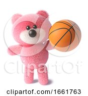 Pink Teddy Bear Character With Soft Fur Holding A Basketball