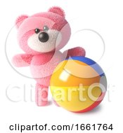 Holiday Teddy Bear Character With Soft Pink Fluffy Fur Playing With A Beach Ball