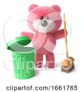Clean Teddy Bear Character With Pink Fur Using A Broom And Trash Can To Clean Up