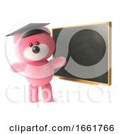 Teddy Bear Character With Soft Pink Fur Wearing A Mortar Board And Teaching At A Blackboard
