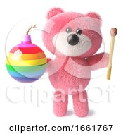 Teddy Bear With Soft Pink Fluffy Fur Holding A Match And Rainbow Bomb