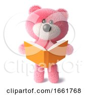 Cuddly Pink Fluffy Teddy Bear Character Reading A Book