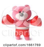 Teddy Bear With Fluffy Pink Fur Wearing Boxing Gloves And Boxing Shorts