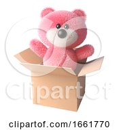 Teddy Bear With Soft Pink Fur Surprises Everyone By Appearing Out Of A Cardboard Box