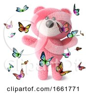 Pink Teddy Bear Character With Fluffy Soft Fur Playing With Lots Of Butterflies