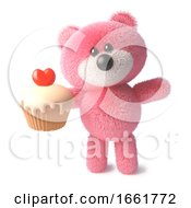 Funny Soft Pink Fluffy Teddy Bear Character Eating A Delicious Cupcake With A Red Heart Jelly