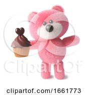 Teddy Bear With Pink Fluffy Fur Has A Sweet Chocolate Cupcake For Dessert