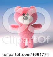 Cuddly Pink Fluffy Teddy Bear Character Is Ready To Play
