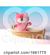 Cuddly Pink Fluffy Teddy Bear Character Is Fishing From A Dinghy Boat