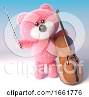 Musical Pink Fluffy Teddy Bear Character Is Playing The Cello