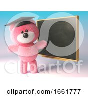 Teddy Bear With Fluffy Pink Fur Wearing A Mortar Board And Teaching At A Blackboard