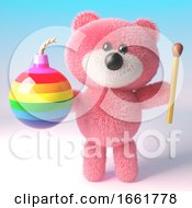Fun Teddy Bear With Pink Fluffy Fur Holding A Rainbow Bomb And Match