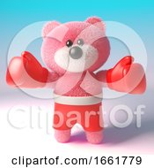 Teddy Bear Character With Pink Fluffy Fur Wearing Boxing Gloves And Shorts