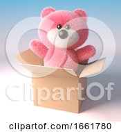 Teddy Bear Character With Pink Fur Jumps Out Of A Cardboard Box