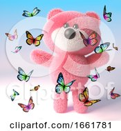 Cute Pink Teddy Bear With Fluffy Fur Is Playing With Lots Of Butterflies