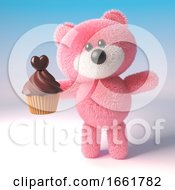 Teddy Bear Character With Pink Fur Is About To Eat A Delicious Chocolate Cupcake For Dessert