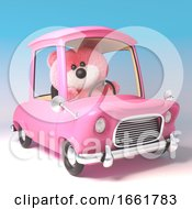 Funny Pink Teddy Bear Character Is Driving Her Pink Cartoon Car
