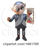Dracula Vampire Character In 3d Holding An Hourglass Timer With Red Sand