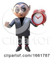 Horrible Vampire Dracula Character Dressed In Black Holding An Alarm Clock