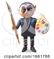 Artisan Vampire Dracula Character In Black Holding A Paintbrush And Palette