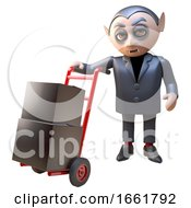3d Dracula Vampire Halloween Character Delivering Some Black Boxes By Hand Trolley