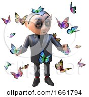 Bemused 3d Vampire Dracula Character Surrounded By Butterflies