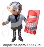 Cartoon 3d Halloween Vampire Dracula Holding A Digital Calculator