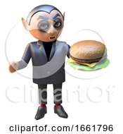 Vampire Dracula 3d Halloween Character Eating A Tasty Cheese Burger