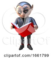 Dracula Vampire Character Reading A Red Book Of Evil