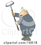Middle Aged Caucasian Man Using A Paint Roller While Painting A Building Clipart Image Graphic