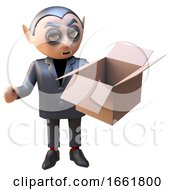 3d Vampire Dracula Character Opens A Cardboard Box Enigmatically