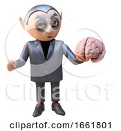 Dark Lord Vampire Dracula 3d Character Holding A Human Brain