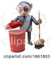Tidy Dracula Vampire Character In Black Cleaning Up With A Red Trash Can And Broom by Steve Young