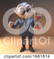 Vampire Dracula Character In Black Holding An Hourglass With Red Sand