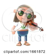 3d Hippy Stoner Character Playing Music On A Violin