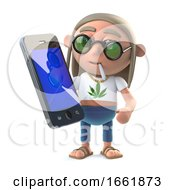 3d Stoner Hippie With A New Smartphone Tablet Device