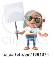 Poster, Art Print Of 3d Hippie Stoner Is Protesting With A Blank Placard