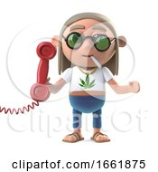 Poster, Art Print Of 3d Hippie Stoner Answers The Phone