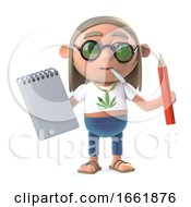 Poster, Art Print Of 3d Hippy Stoner Has A Notepad And Pencil